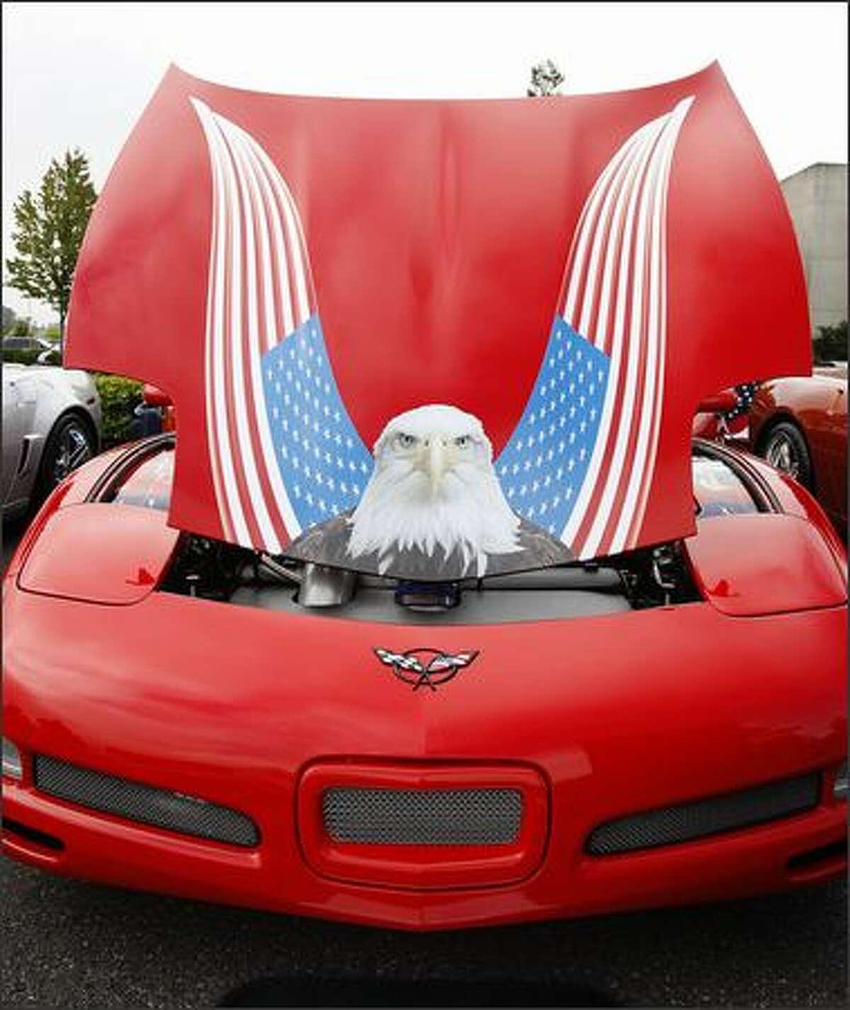 A patriotic Corvette on display.