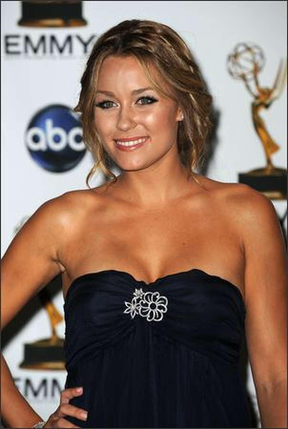 Actress Lauren Conrad poses in the press room at the 60th Primetime Emmy Awards at the Noika Theatre in Los Angeles on September 21, 2008. AFP PHOTO Robyn BECK
