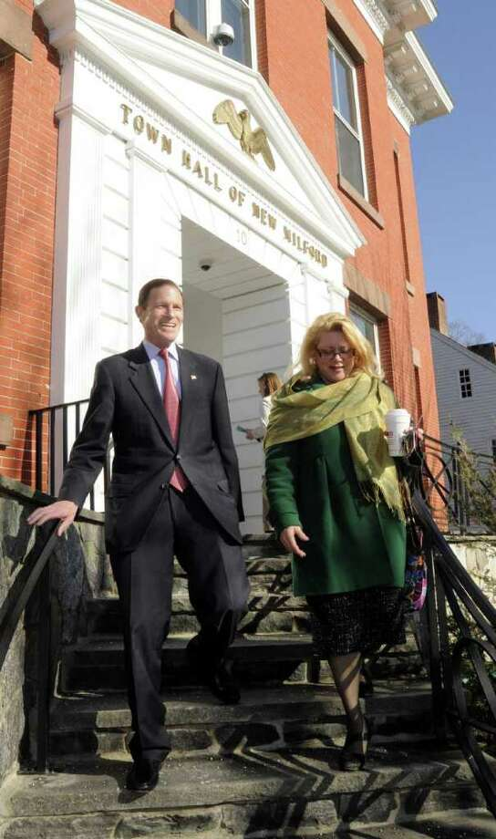 Senator Richard Blumenthal and Mayor Patricia Murphy leave the New Milford town hall on Thursday March 24, 2011. Photo: Lisa Weir / The News-Times Freelance