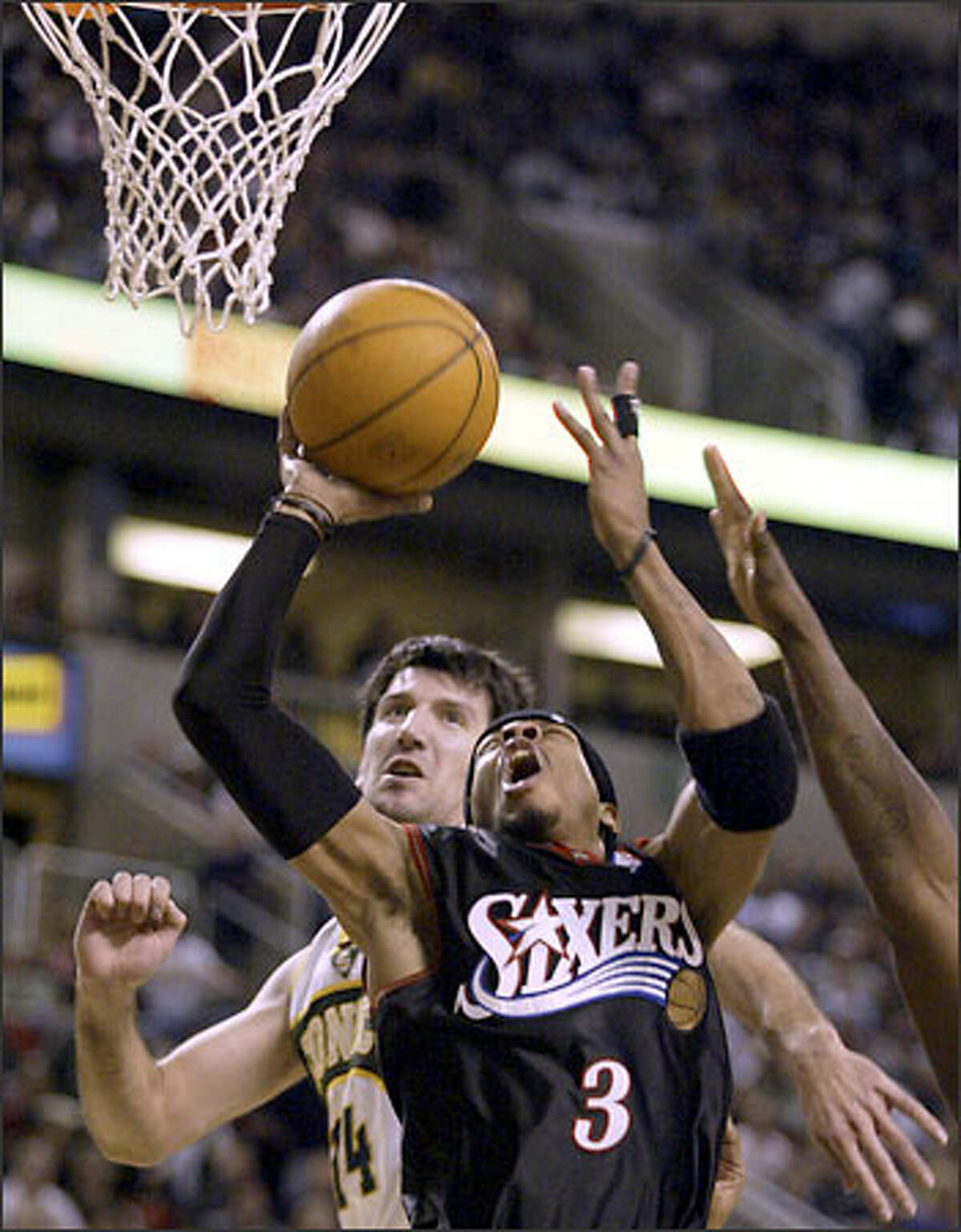 Allen Iverson hit 15 of 27 shots from the field, two of four 3-pointers, and all eight from the line for 40 points.