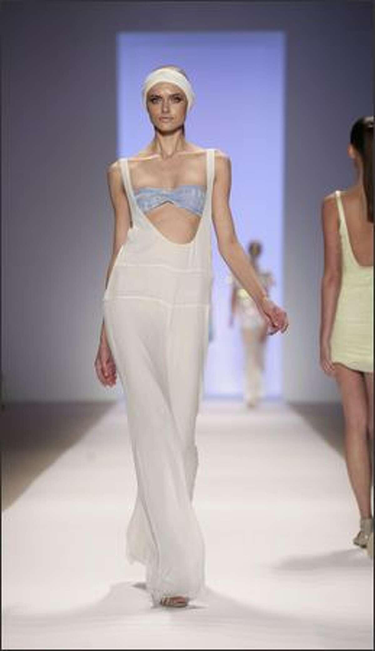 A model wears a creation by Erin Fetherston.