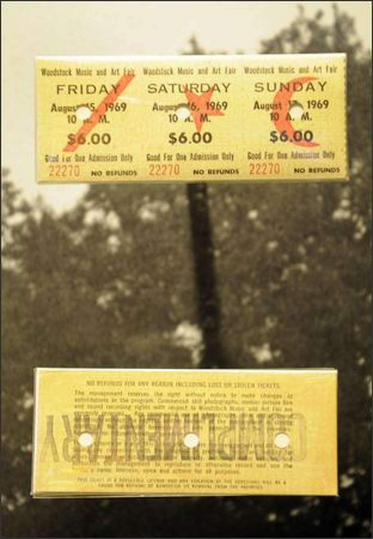 Tickets to the three-day Woodstock music festival are on display.