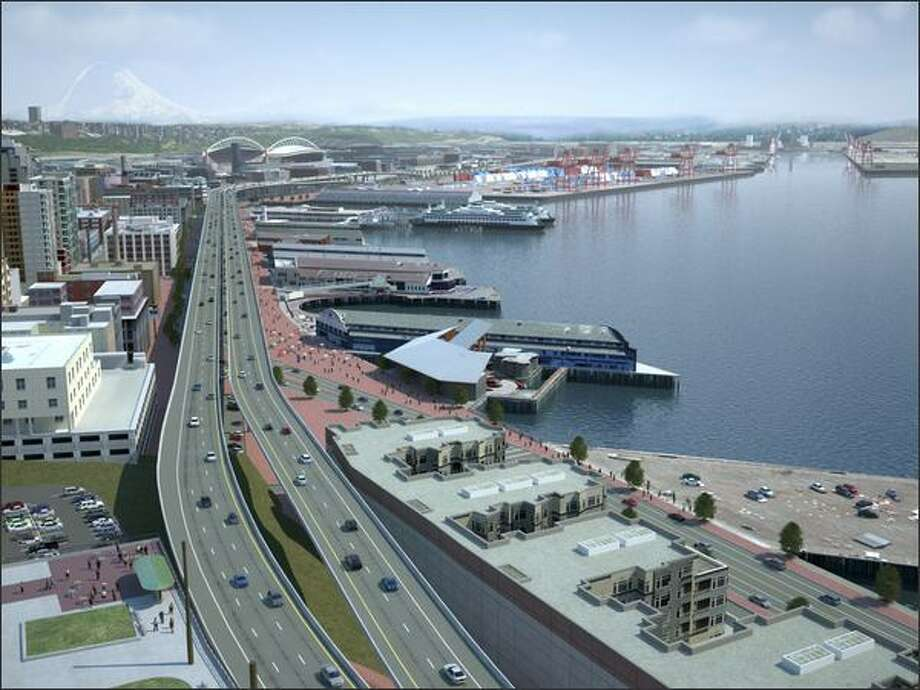 In this scenario state Route 99 would run along the waterfront on two independent bridge structures, side by side, with two lanes in each direction. Photo: / Washington State Department Of Transportation