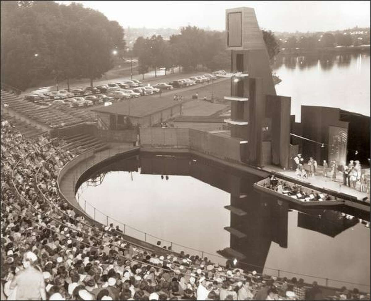 The Aqua Theatre at Green Lake in 1958 is where the vaudeville-style