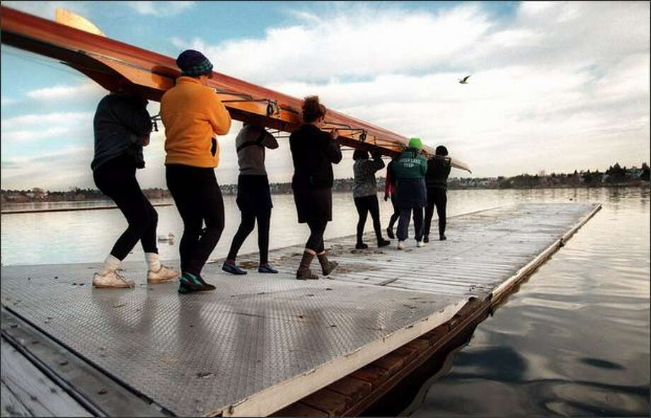 A sculling class at Green Lake. Photo: P-I File