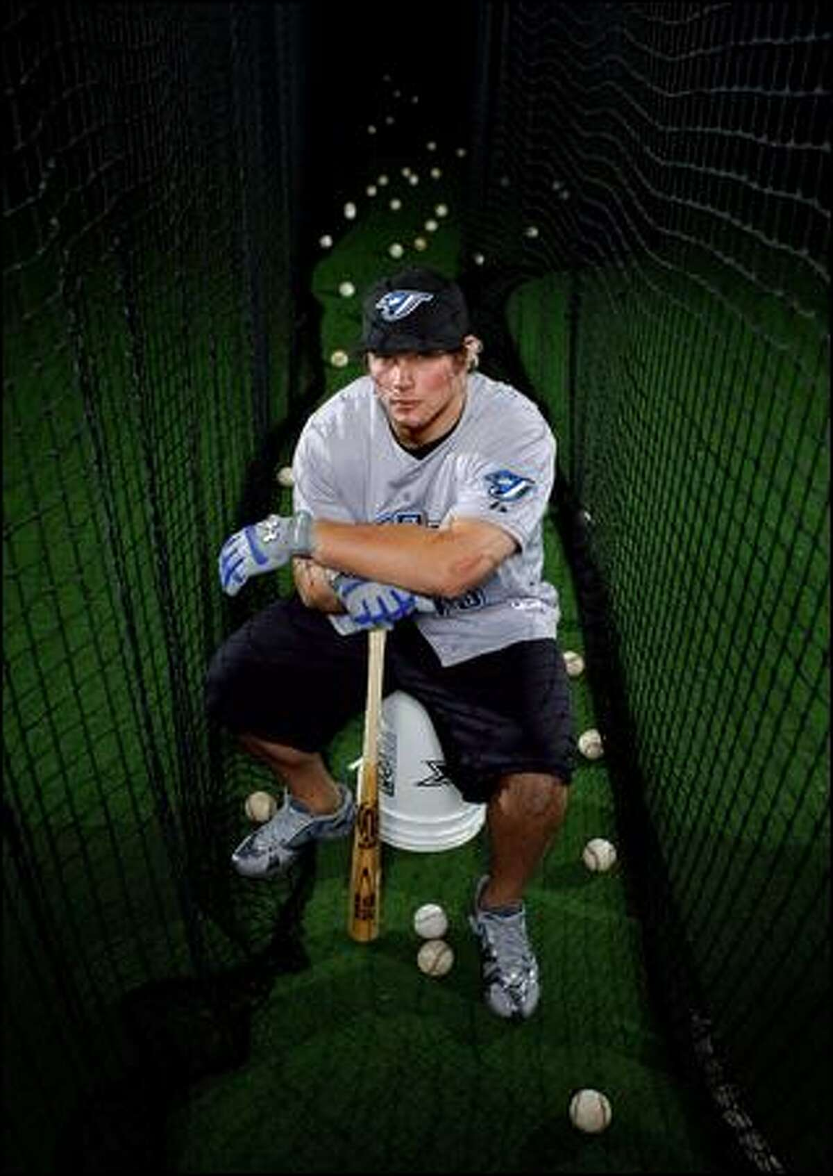 Toronto Blue Jays prospect Travis Snider takes a break at Everett's Rage Cage, where he trained as a student at Jackson High School.