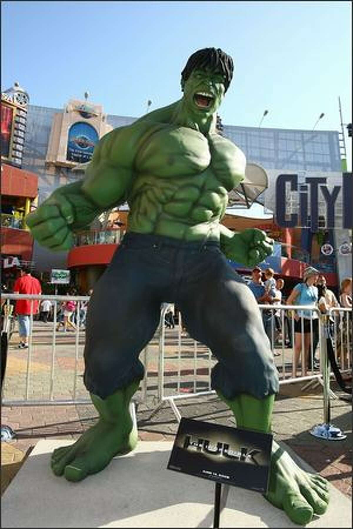 A statue of The Incredible Halk stands near the red carpet at the premiere of Universal Pictures'
