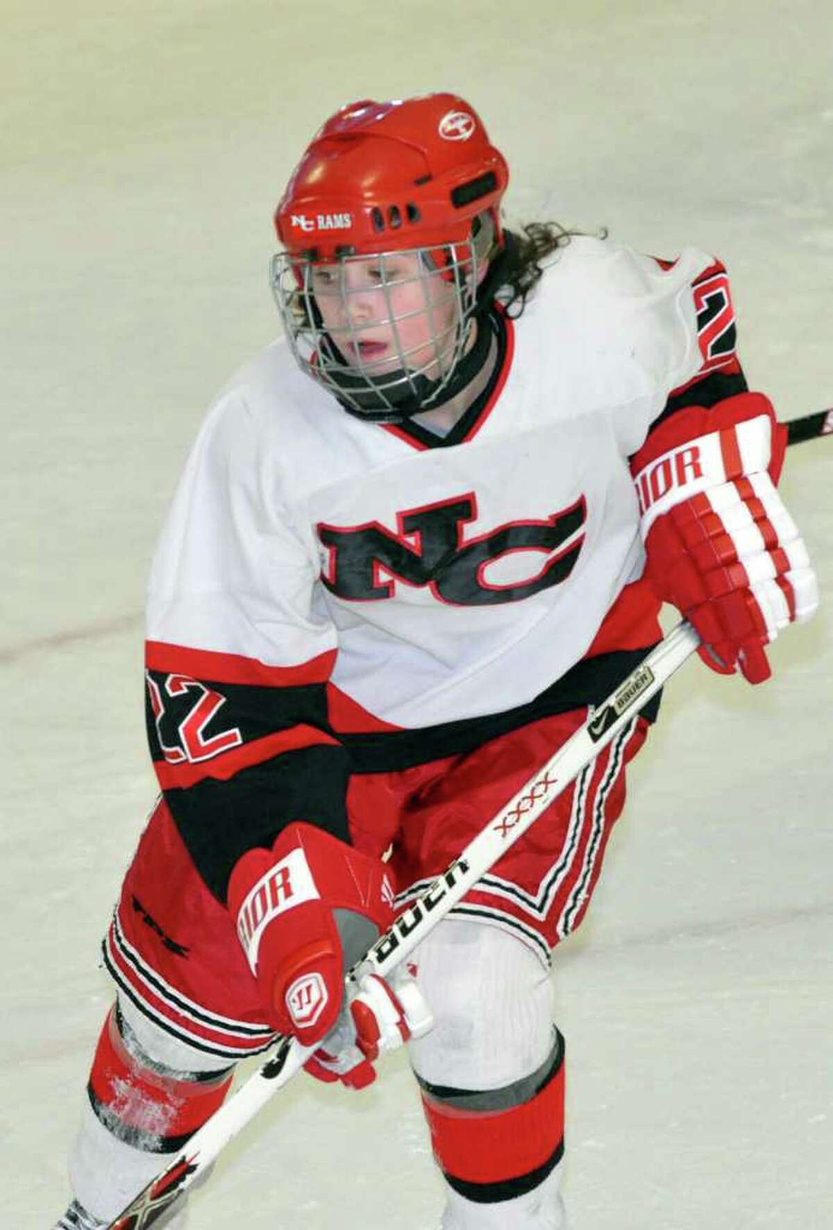 New Canaan's Olivia Hompe during the girls ice hockey game against Morristown, NJ on Monday, Jan. 17, 2011.