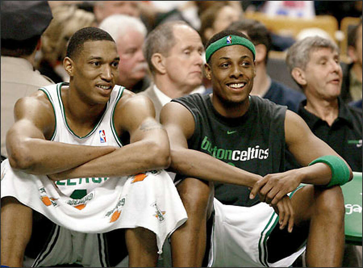 Celtics forward Tony Battie, left, and shooting guard Paul Pierce share a laugh on the bench in the fourth quarter, the game no longer in doubt.