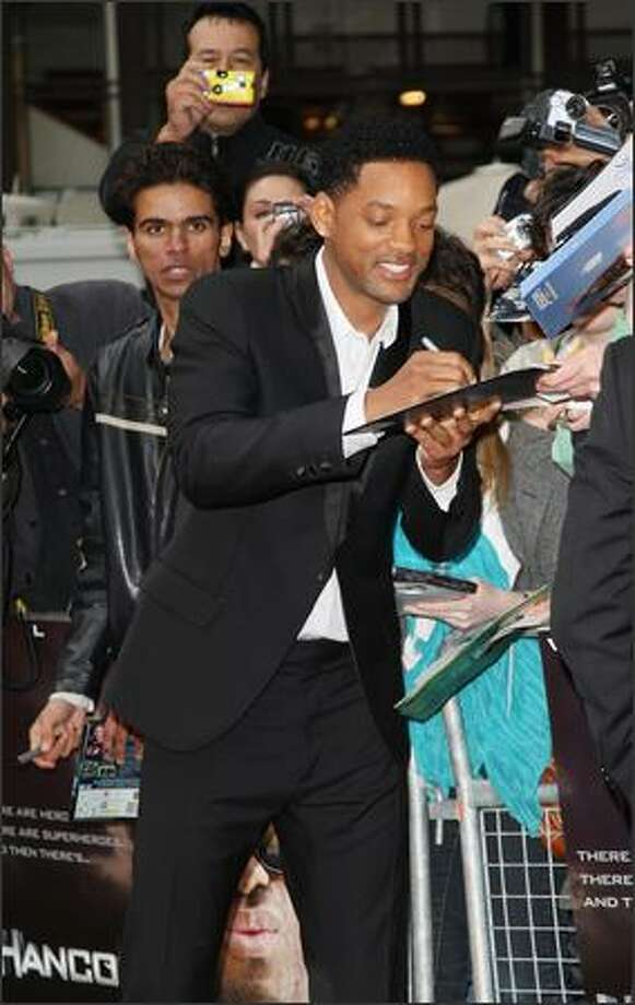 "Actor Will Smith arrives at the ""Hancock"" premiere at Leicester Square on Wednesday in London. Photo: Getty Images"
