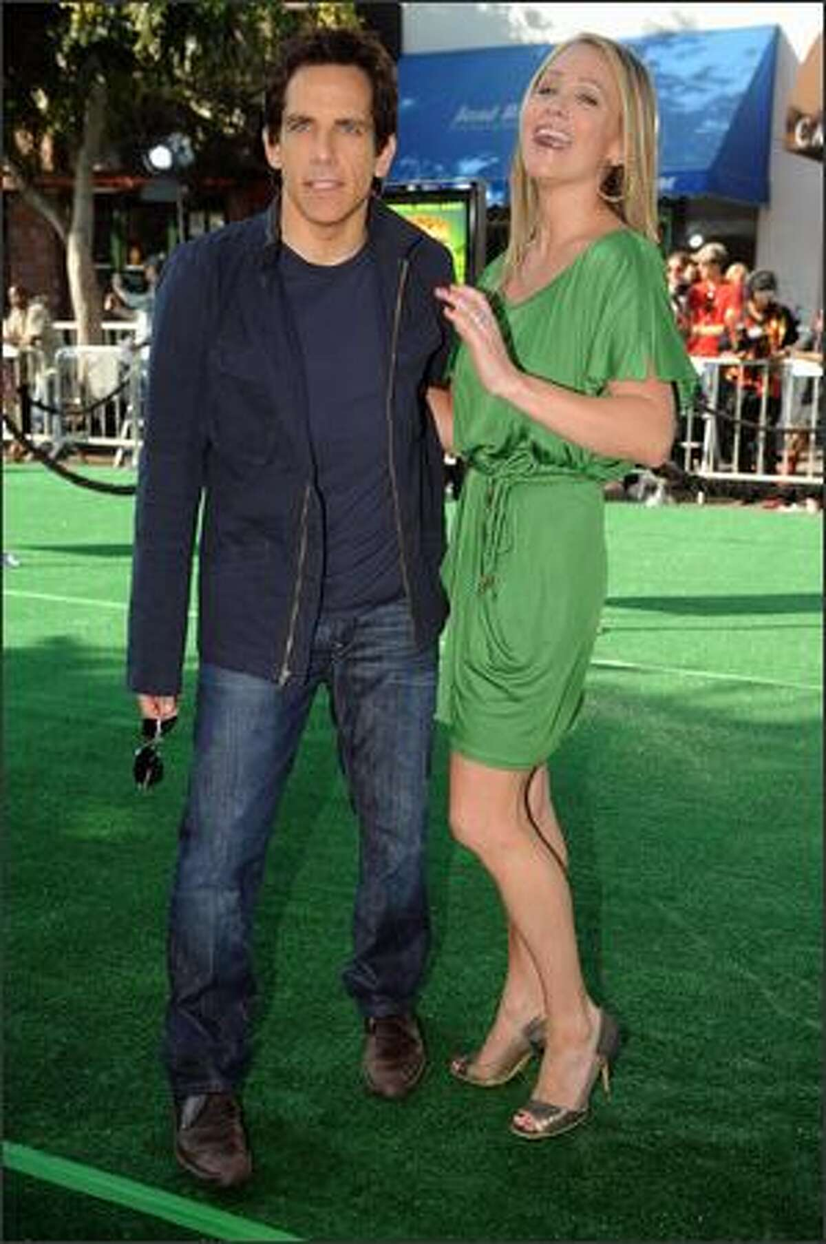 Actor Ben Stiller arrives with his wife, actress Christine Taylor, at the Los Angeles premiere of
