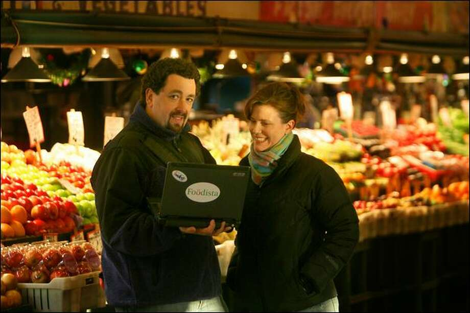 Foodista.com Chief Executive Barnaby Dorfman and Vice President Sheri Wetherell, at Pike Place Market, are launching what they call the world's first online encyclopedia of food. Anyone can edit contributions to the Seattle-based online community. Photo: Scott Eklund/Seattle Post-Intelligencer