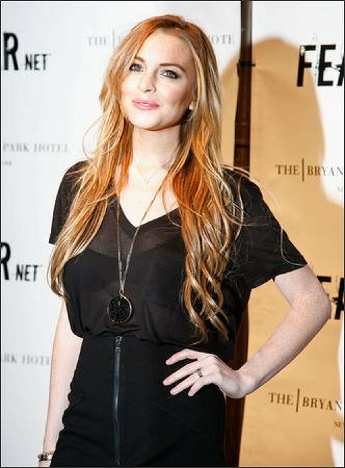 Actress Lindsay Lohan attends FEARnet's 2nd anniversary party at The Cellar Bar at Bryant Park Hotel on Tuesday in New York City.