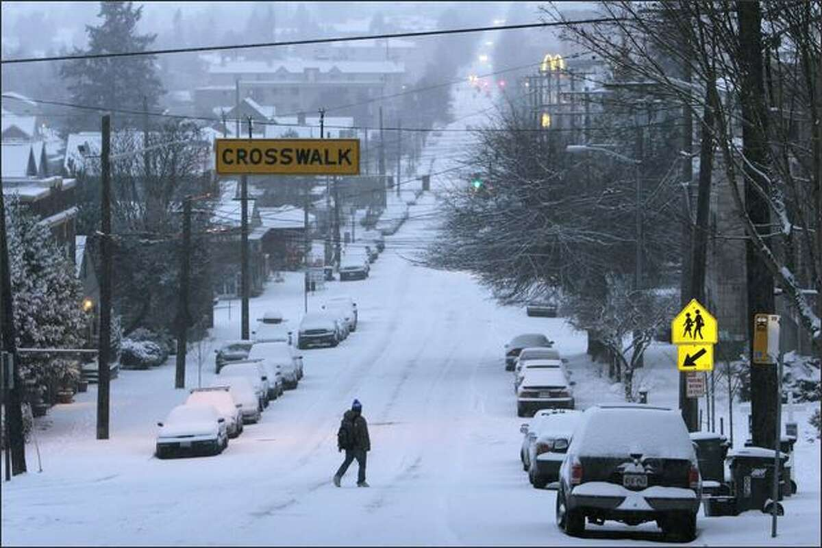 An early morning view looking north down California Avenue SW in West Seattle on Thursday.