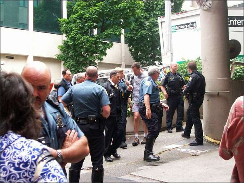 Aftermath of the scene where a suspect was shot in downtown Seattle on Tuesday morning. (Photo by Michele DeMaris)