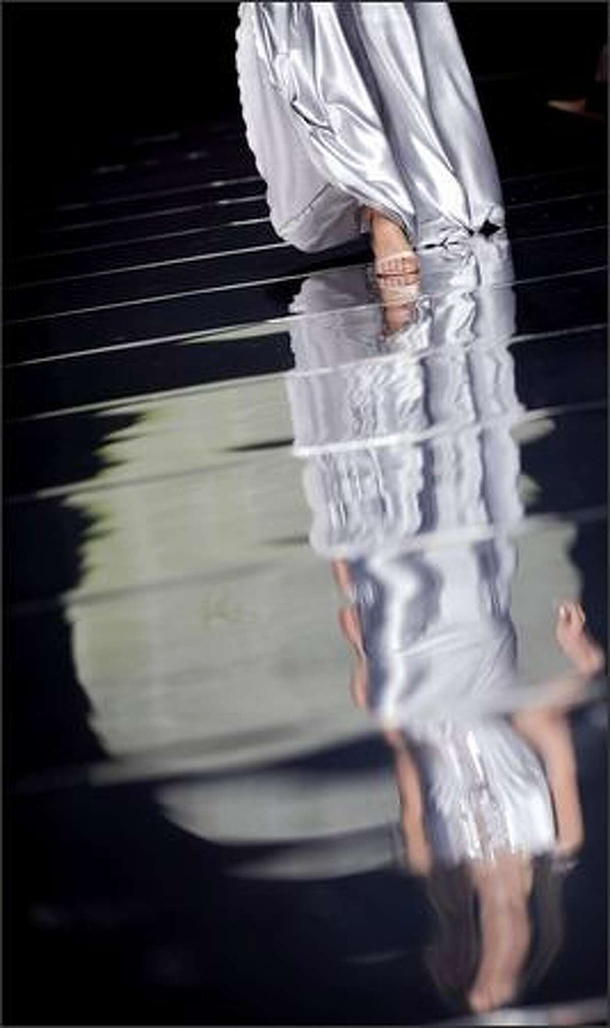 A model displays a creation by Israeli fashion designer Galit Levi's Women Fall/Winter 2008 Haute Couture collection during the Rome Fashion Week at Auditorium Parco della Musica on Monday.