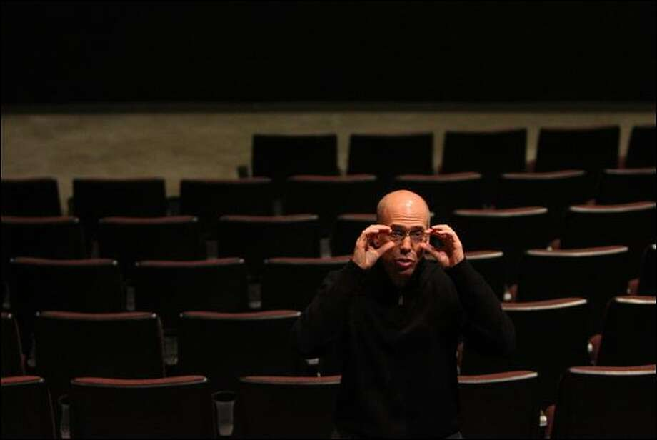 Jeffrey Katzenberg, a DreamWorks founder, speaks with reporters after giving a demonstration of a 3-D feature at AMC Pacific Place in Seattle on Thursday. Photo: Mike Kane/Seattle Post-Intelligencer