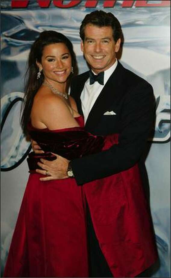 Actor Pierce Brosnan and his wife Keely at the World Premiere of James Bond 'Die Another Day' at the Royal Albert Hall, London on November 18, 2002. Photo: Getty Images