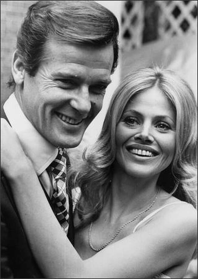 Swedish actress Britt Ekland attends a reception at the Cleremont Hotel in London with Roger Moore to promote the James Bond film 'The Man with the Golden Gun'. Photo: Getty Images