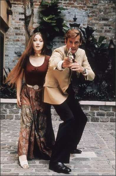 1973: Jane Seymour plays the clairvoyant Solitaire to Roger Moore's 007 in the James Bond film 'Live