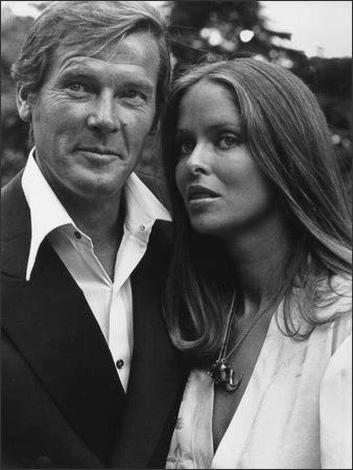 September 3, 1976: Actors Roger Moore and Barbara Bach during the filming of 'The Spy Who Loved Me', in which they play James Bond and Major Anya Amasova. Photo: Getty Images