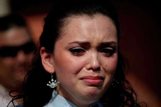 """Domonique Ramirez, 17, is overcome with emotion as she talks about attorney Luis Vera Jr. being the only attorney who would take her case during a press conference she held at Our Lady of Guadalupe Catholic Church after the trial. """"My lawyer is like my second father,"""" she said. Photo: Lisa Krantz/Express-News / SAN ANTONIO EXPRESS-NEWS"""