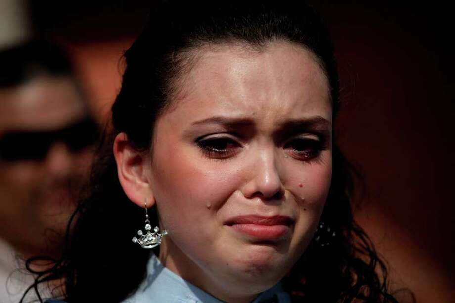 "Domonique Ramirez, 17, is overcome with emotion as she talks about attorney Luis Vera Jr. being the only attorney who would take her case during a press conference she held at Our Lady of Guadalupe Catholic Church after the trial. ""My lawyer is like my second father,"" she said. Photo: Lisa Krantz/Express-News / SAN ANTONIO EXPRESS-NEWS"