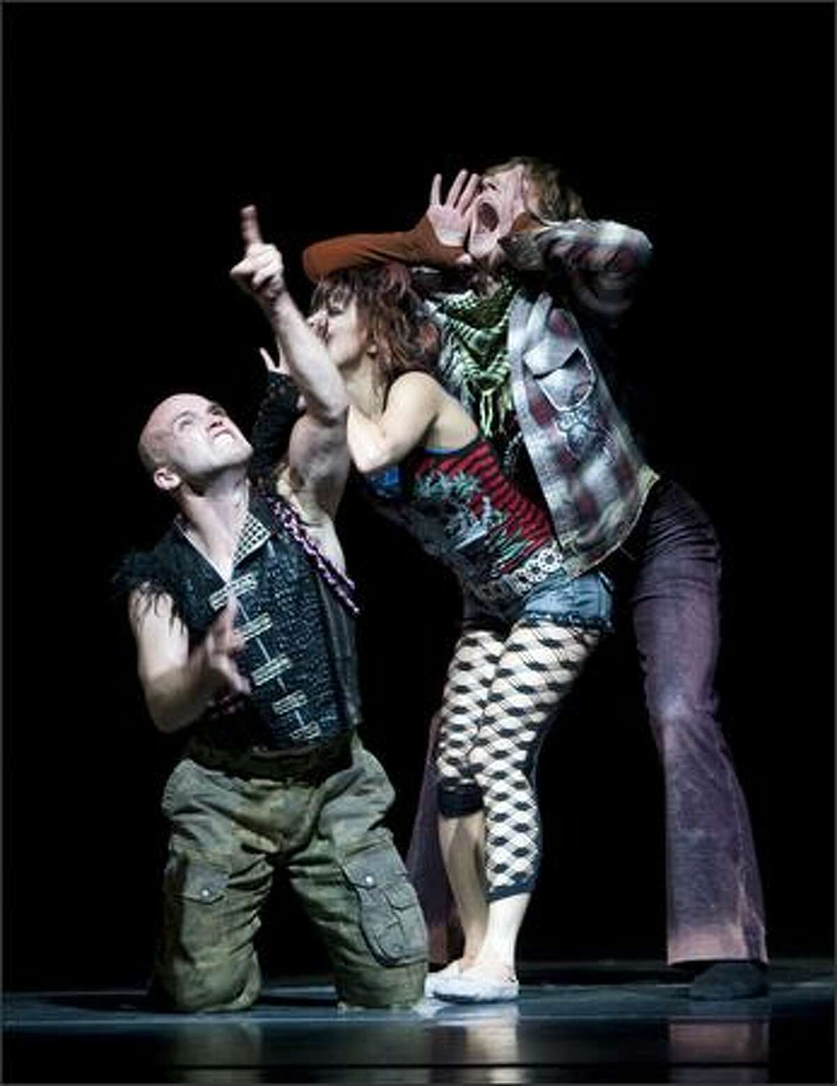(L-R) Guest artist Charlie Neshyba-Hodges, Pacific Northwest Ballet principal dancers Kaori Nakamura and Olivier Wevers in the world premiere of Twyla Tharp's Afternoon Ball.