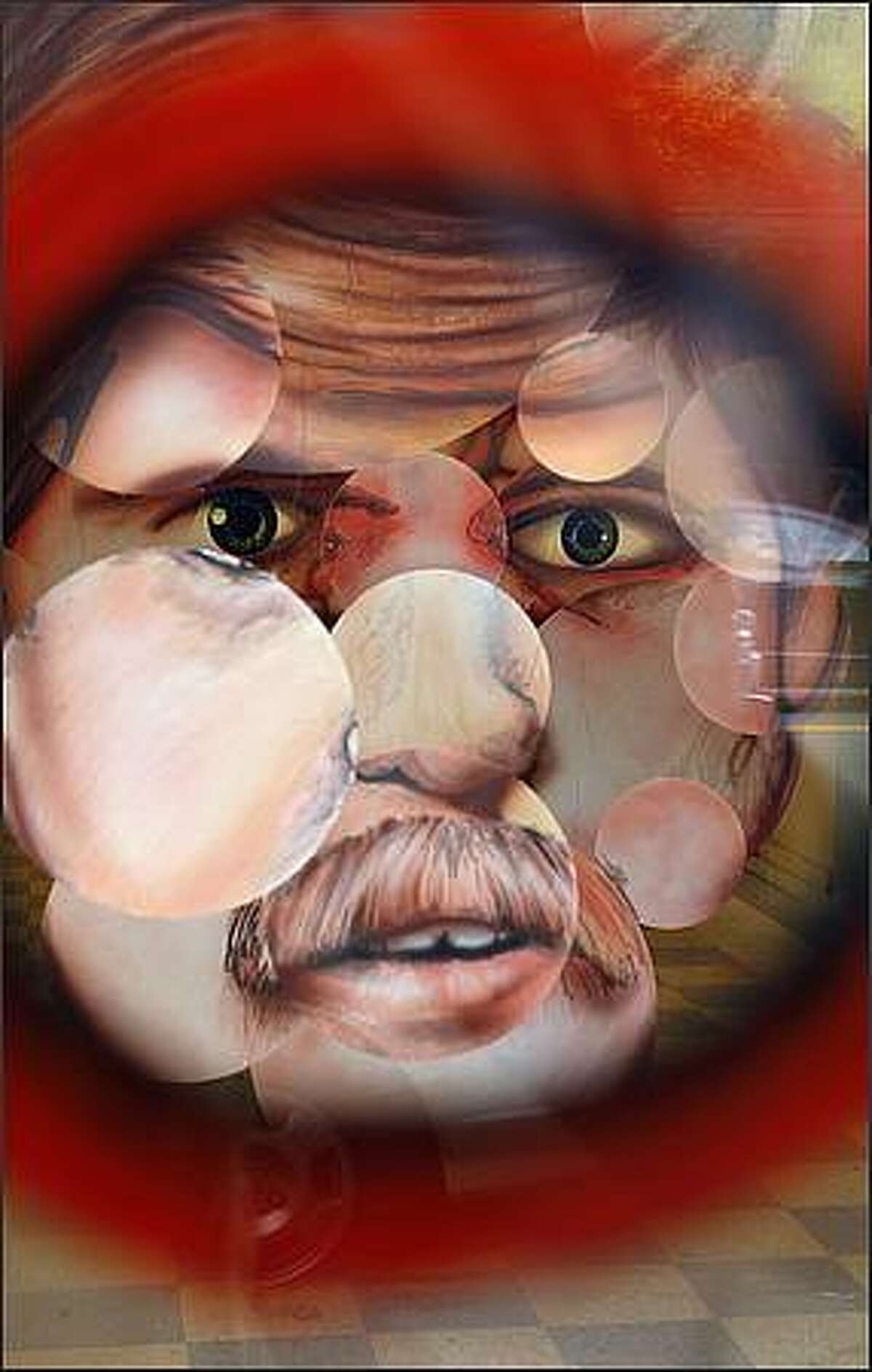 This is how the various disks converge to create a face when Jason Puccinelli's 3-D portrait is viewed through a small circle drawn on the window of the former location of T&T Hair Salon in the Capitol Hill neighborhood. Thursday, Sept. 25, 2008.