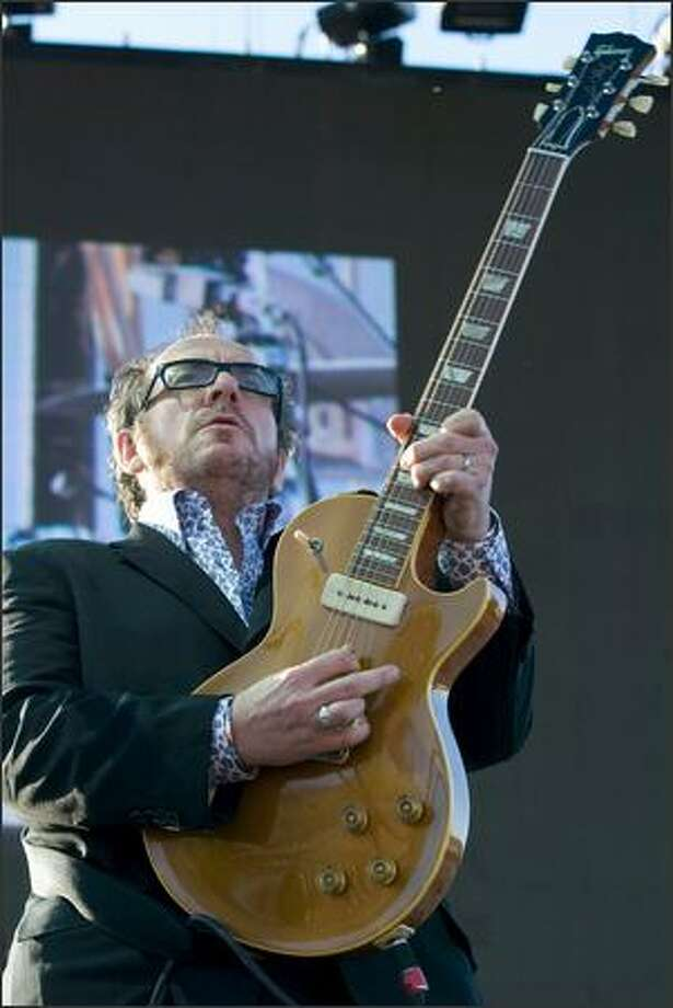 Elvis Costello performs with the Imposters at the Gorge Amphitheatre. Photo: Jim Bryant, Seattle Post-Intelligencer