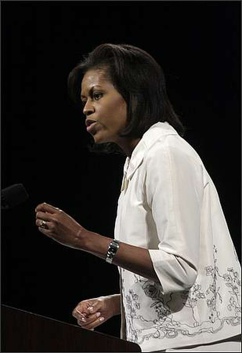 Michelle Obama speaks to supporters.