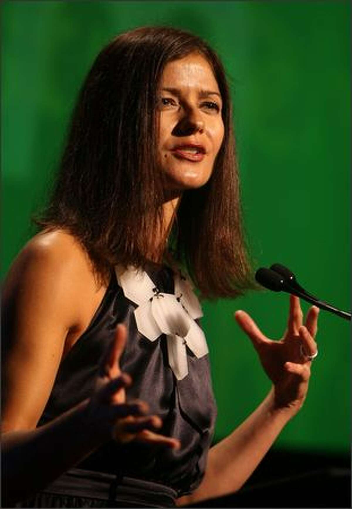 Actress Jill Hennessy speaks on stage during the 29th annual Salute to Women in Sports Awards presented by the Women's Sports Foundation at The Waldorf-Astoria Hotel in New York City.
