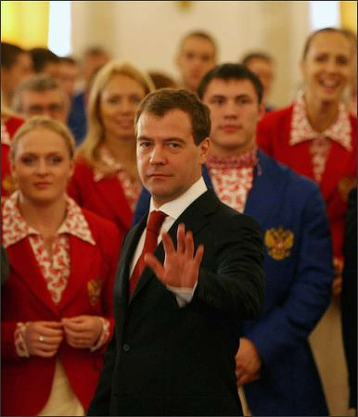 Russian President Dmitry Medvedev attends a well-wishing ceremony for the country's Beijing-bound athletes at the Kremlin in Moscow, Russia.