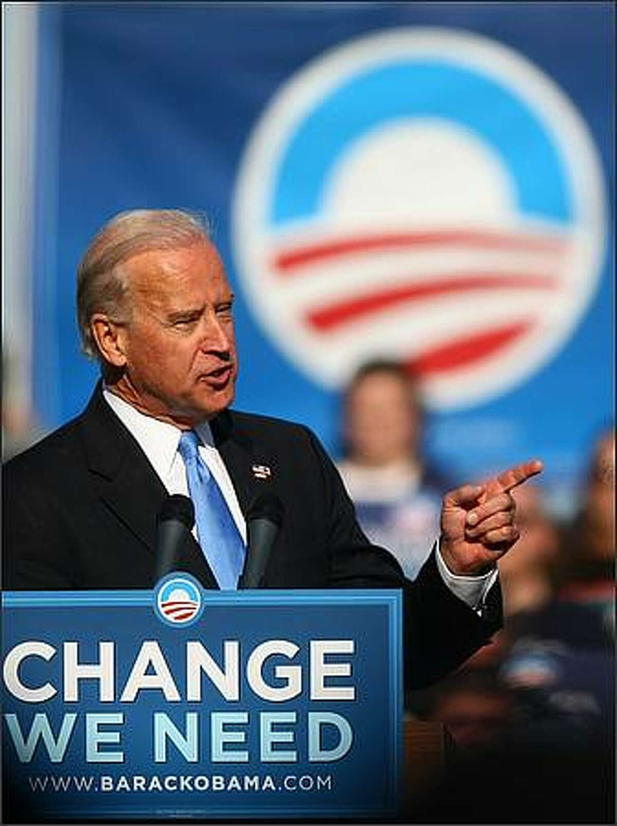 Democratic Vice Presidential candidate Joe Biden speaks to the crowd at Cheney Stadium in Tacoma.
