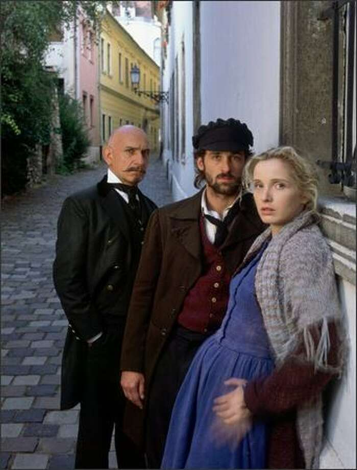 "From left, Ben Kingsley, Patrick Dempsey, Julie Delpy in an NBC production of ""Crime and Punishment."""