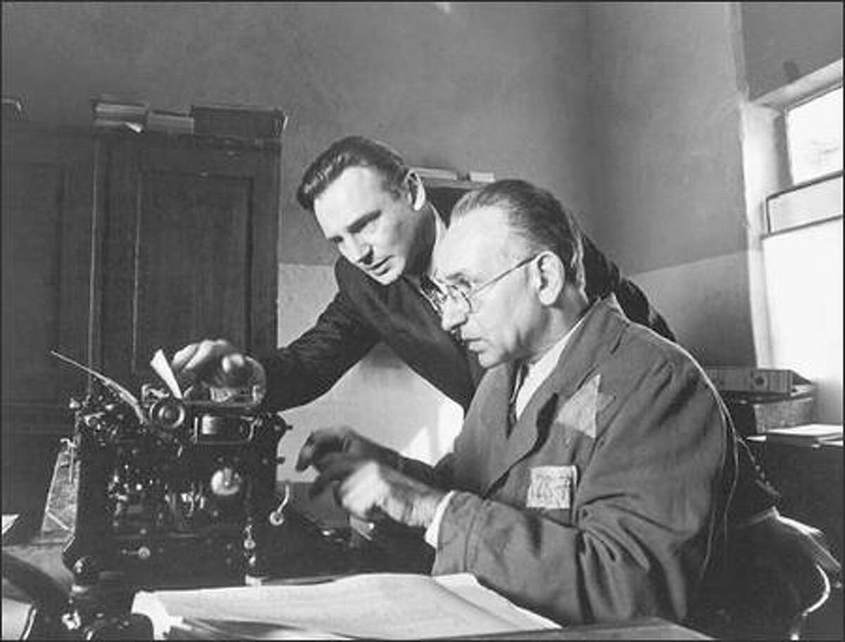 """Liam Neeson, left, and Ben Kingsley in a scene from """"Schindler's List."""""""
