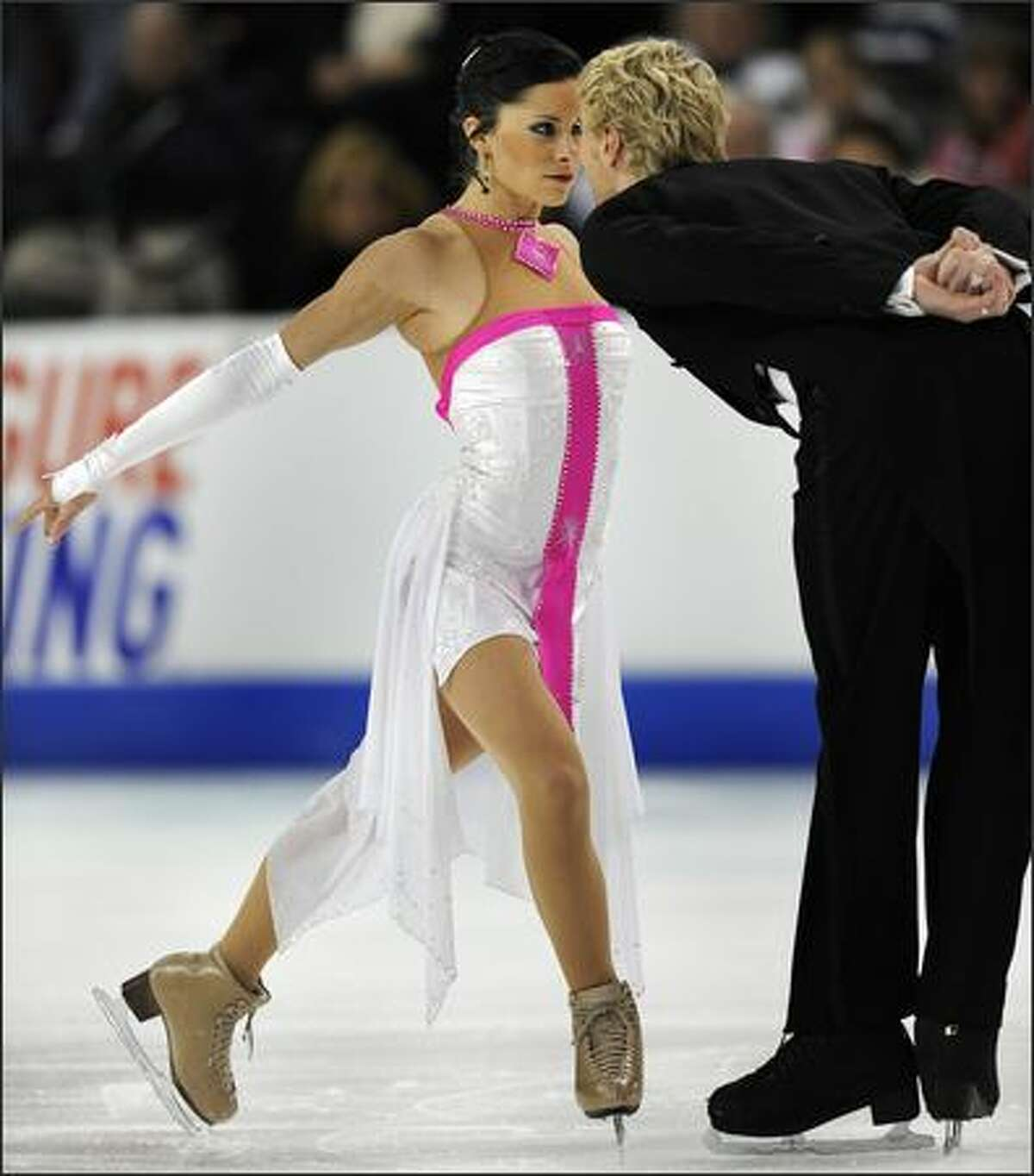 Isabelle Delobel and Olivier Schoenfelder of France in the Ice Dance Compulsory Dance Competition during the 2008 Skate America at the Comcast Arena in Everett on Friday. Skate America, the first Grand Prix event of the season, will run through Sunday.