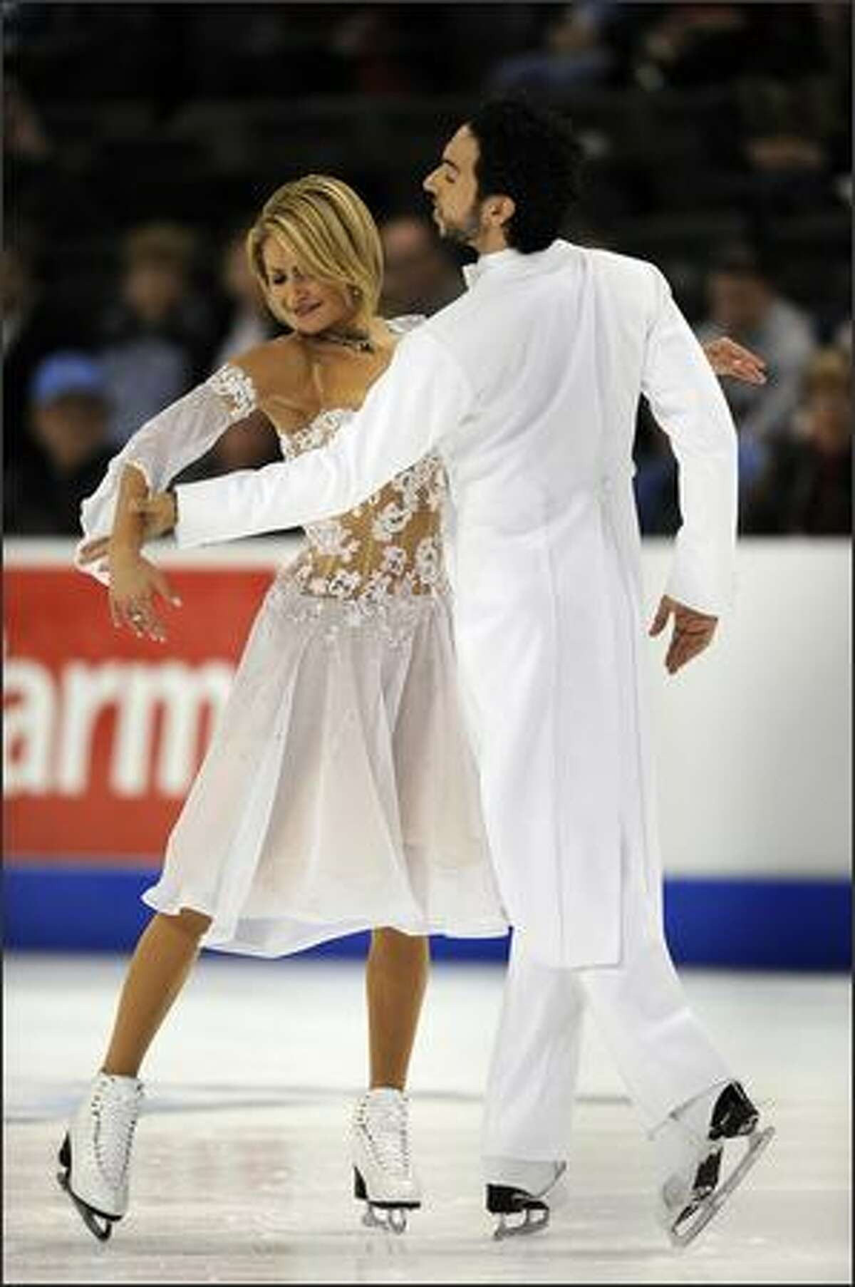 Tanith Belbin and Ben Agosto of the United States in the Ice Dance Compulsory Competition.