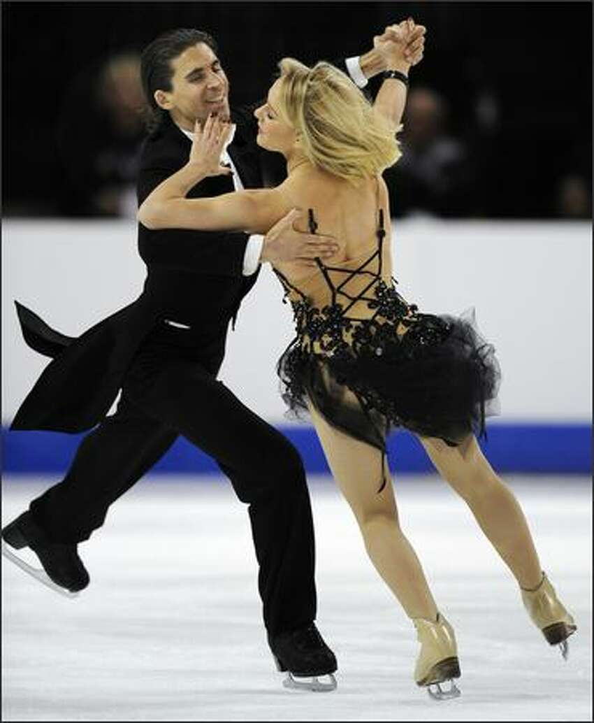Pernelle Carron and Mathieu Jost of France compete in the Ice Dance Compulsory Competition.