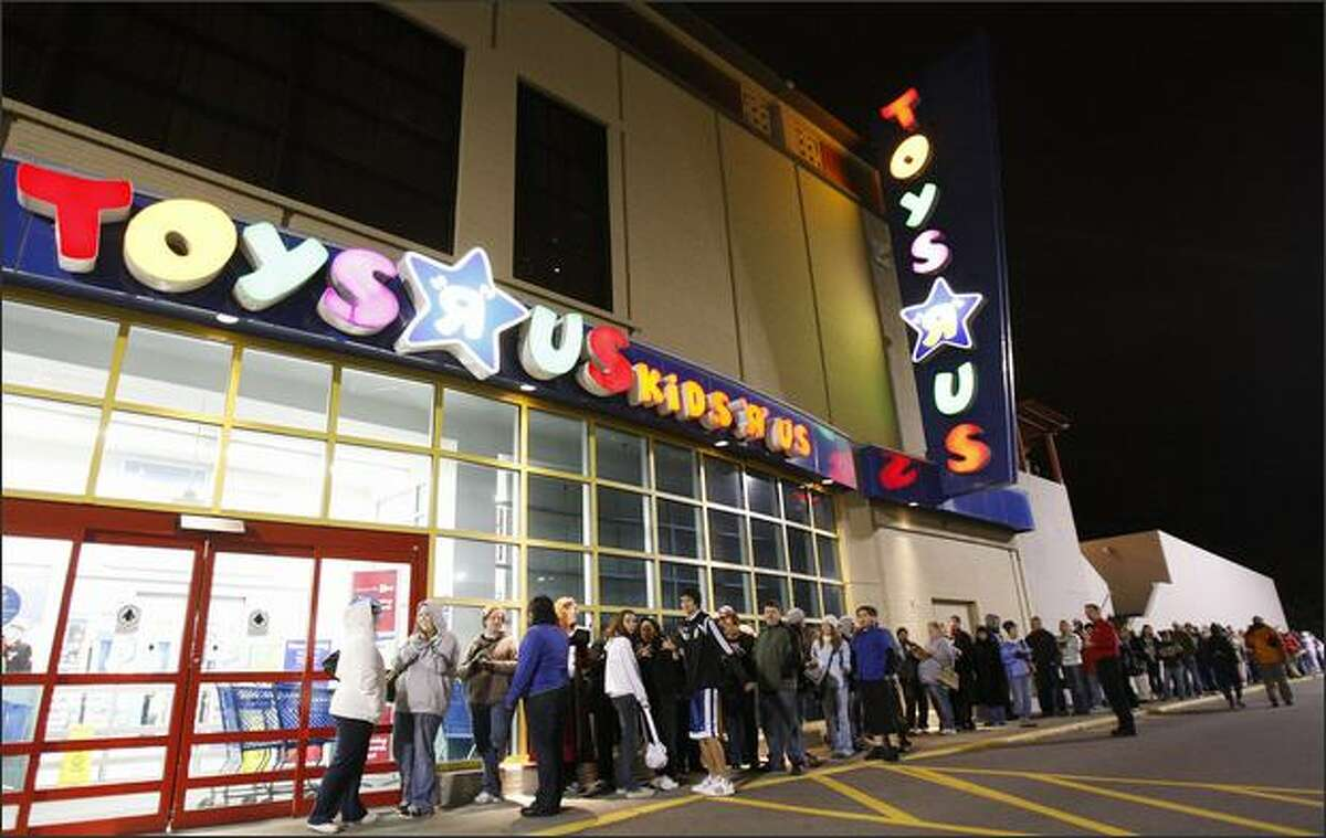 Shoppers line up for the opening of Toys R Us at Northgate Mall on the day known as Black Friday, arguably one of the busiest shopping days of the year, Nov. 28, 2008, in Seattle.