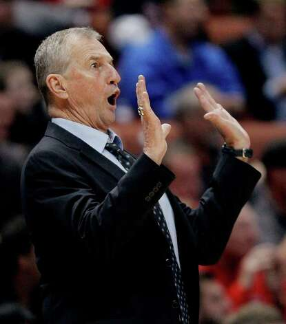 Connecticut coach Jim Calhoun reacts during the first half of a West regional semifinal against San Diego State in the NCAA college basketball tournament Thursday, March 24, 2011, in Anaheim, Calif. (AP Photo/Jae C. Hong) Photo: AP