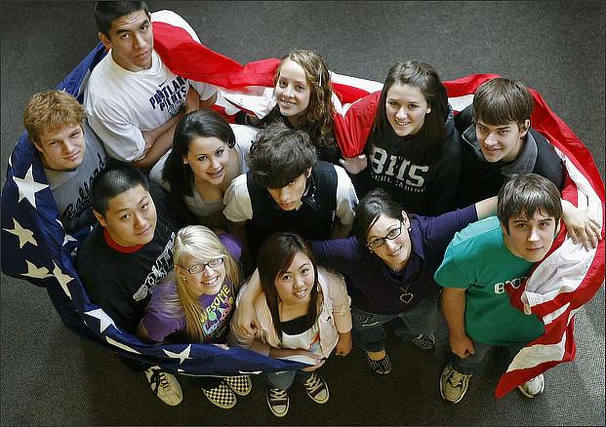 A sampling of the faces that will be running the country for the next half century, government and economics class seniors photographed at Ballard High School in Seattle. All will all be voting in the upcoming November election. They include (in no order) Elliot Ransom, Steven Chadwick, Rebecca Zavala, Nathan Ricci, Claire Robbins, Tony Gustman, Kelly Perin, Keleigh Troyer, Enen Lei, Grady Williams, Krista Nelson and Eric Taylor. October 23, 2008