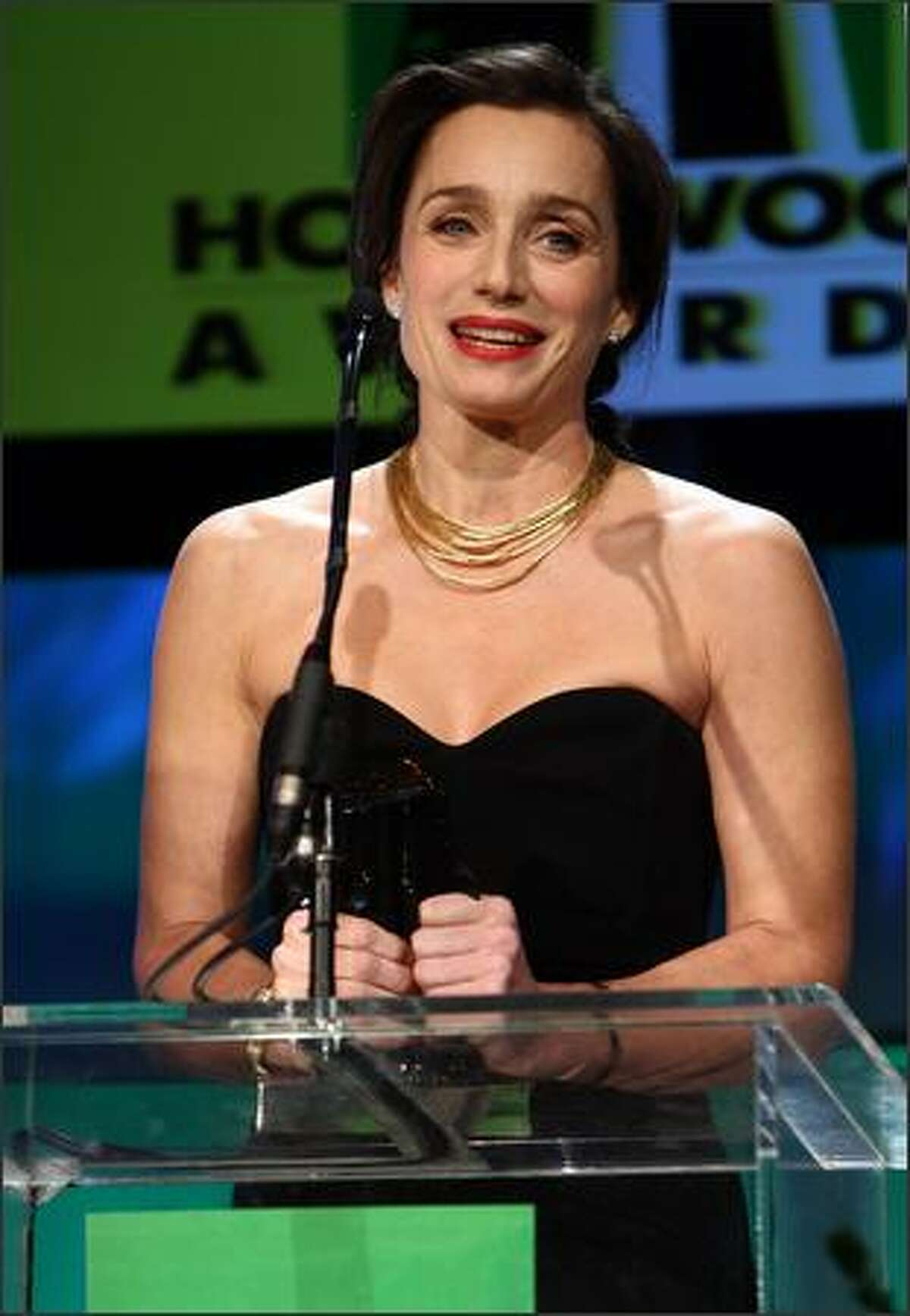 Actress Kristin Scott Thomas accepts her award for Hollywood Actress of the Year Award onstage during the Hollywood Film Festival's Gala Ceremony held at Beverly Hilton Hotel on Tuesday in Beverly Hills, Calif.