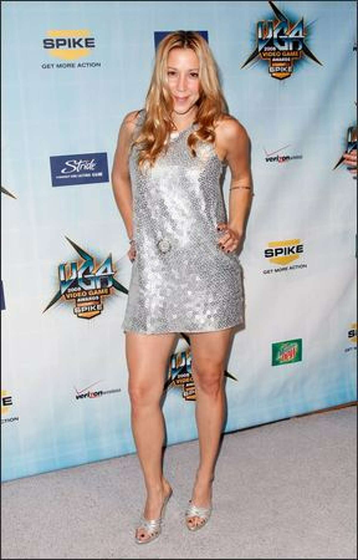 """TV host Becky Baeling arrives at Spike TV's 2008 """"Video Game Awards"""" held at Sony Pictures' Studios on Sunday in Culver City, Calif."""