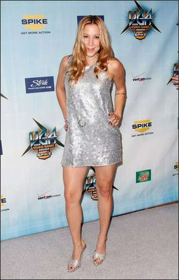 """TV host Becky Baeling arrives at Spike TV's 2008 """"Video Game Awards"""" held at Sony Pictures' Studios on Sunday in Culver City, Calif. Photo: Getty Images"""