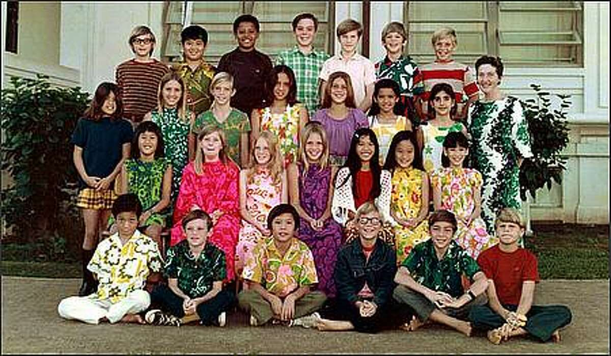 Barack Obama and his buddy Dean Ando in 5th grade class photo. Dean Ando is in the top row, second from the left with the green and yellow