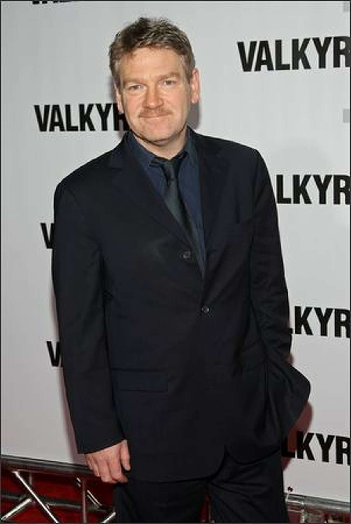 """Actor Kenneth Branagh attends the premiere of """"Valkyrie"""" at Rose Hall inside the Time Warner Center on Monday in New York City."""