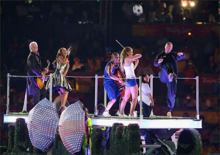 Leona Lewis, David Beckham and Jimmy Page in The Gala of The Olympic Games