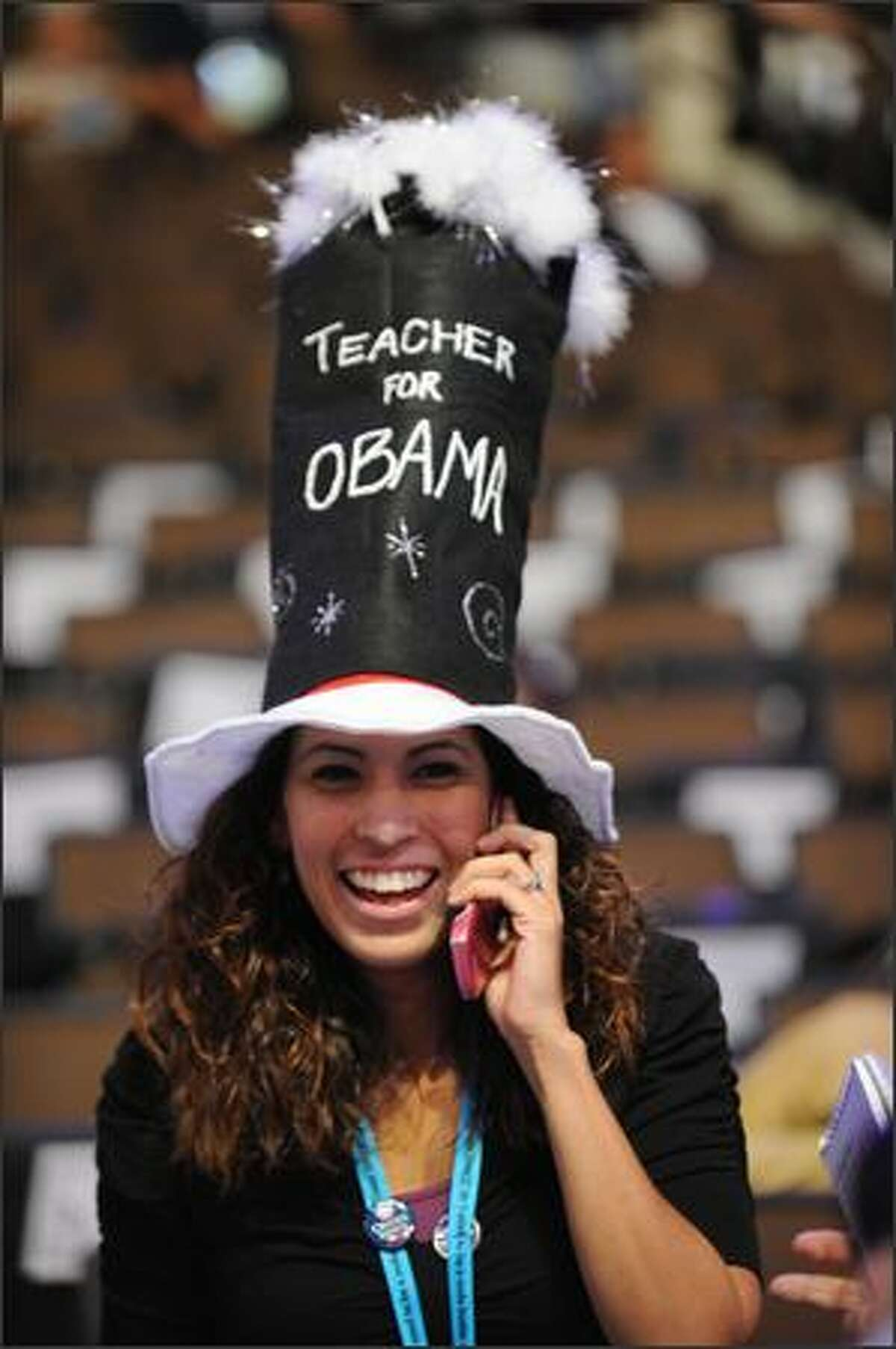 A delegate is seen at the opening of the Democratic National Convention 2008 at the Pepsi Center on Monday in Denver, Colorado.