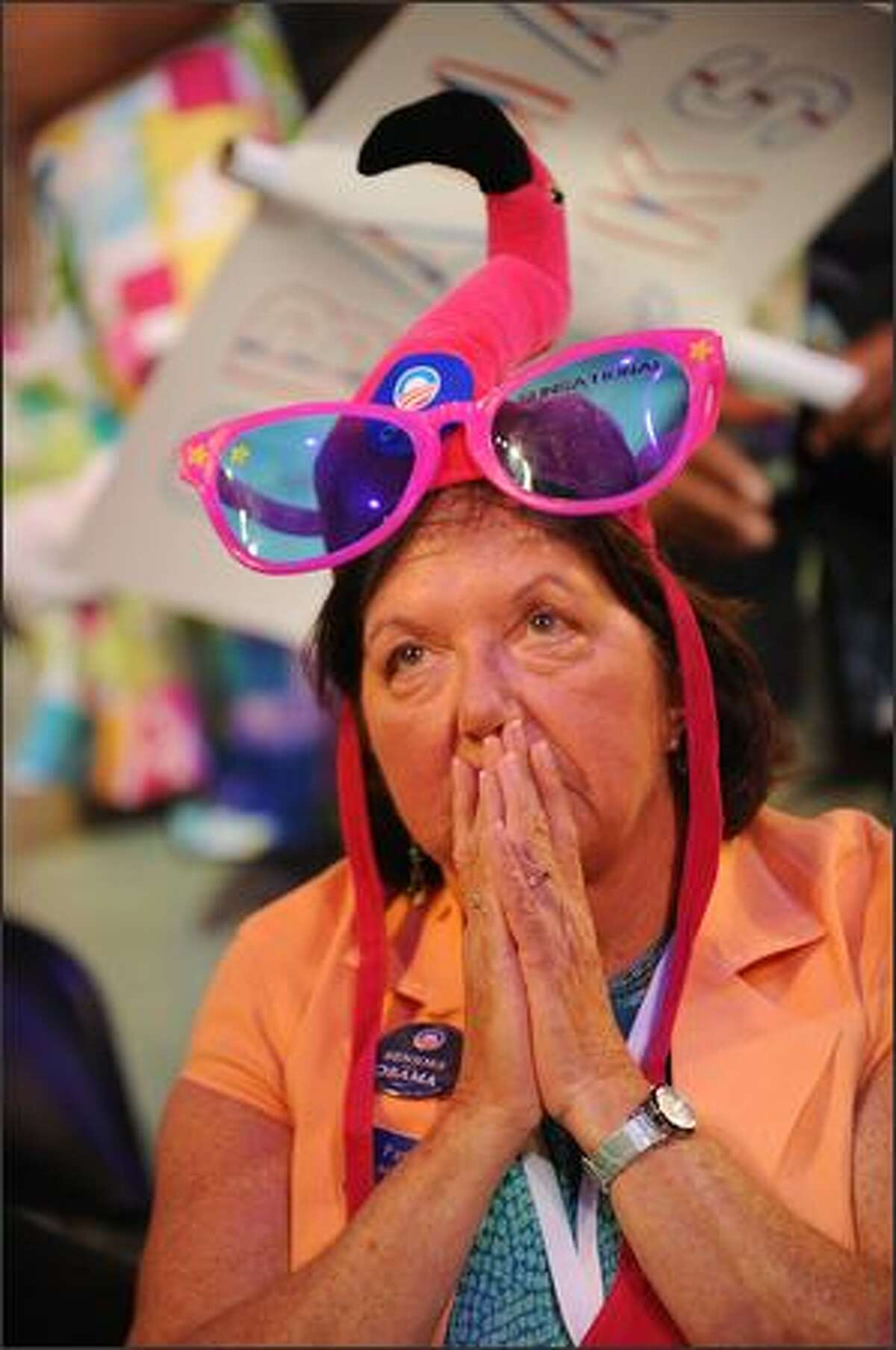 A delegate from Florida reacts to the address of Chair of the Democratic National Convention, Howard Dean during the opening speech at the Democratic National Convention 2008 at the Pepsi Center on Monday in Denver, Colorado.